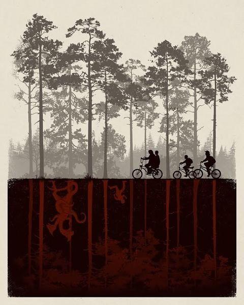 """The Upside Down"" by Matt Ferguson.  16"" x 20"" Screenprint.  Timed edition.  $45"