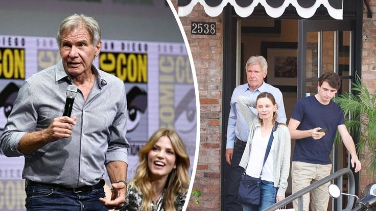 Harrison Ford dines with third wife Calista Flockhart and son Liam after...