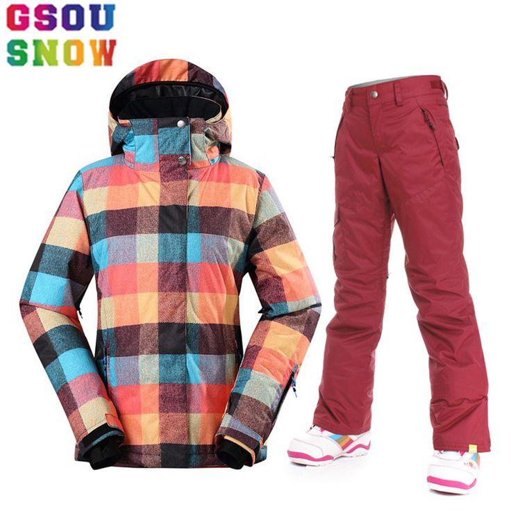 GSOU SNOW Brand Ski Suit Women Skiing Jacket Snowboarding Pants Winter Waterproof Cheap Ski Suit Outdoor Ladies Sport Clothing