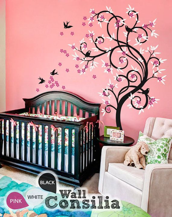Baby nursery wall decals blossom tree decal tree wall for Baby nursery tree mural