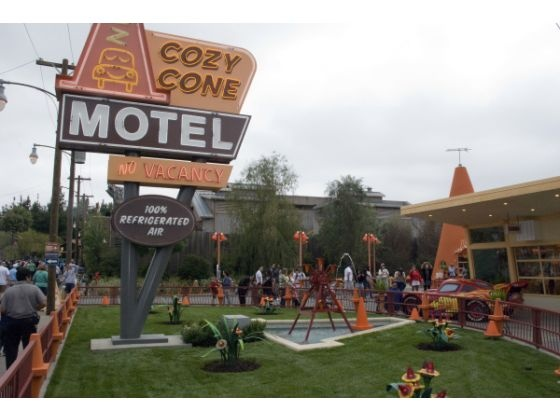 The Cozy Cone Motel is where annual passholders and other park visitors will get a chance to visit with Lightning McQueen and Mater, two of the characters from the Disney/Pixar animated film Cars.