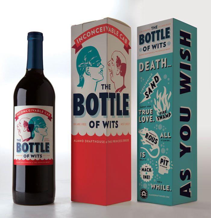 Bottle of WitsAlamo Drafthouse, Alamo Wine, Wine Bottle Design, Wine Packaging, Wine Labels, Packaging Design, Princesses Brides, Helm Workshop, Wine Bottles