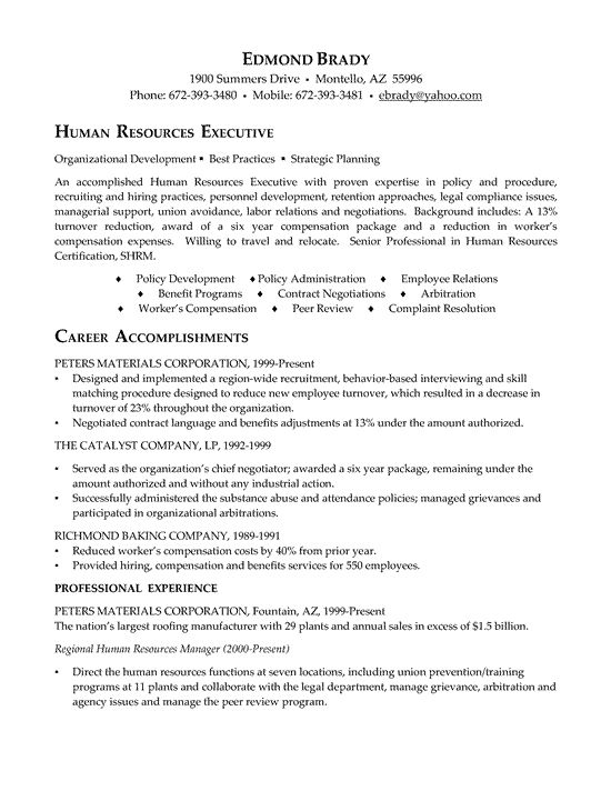 hr executive resume - Executive Resume Example