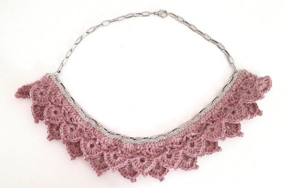 Crochet Necklace Choker Cotton and Linen Yarn Spring & by Dushle, $29.00