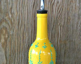 Botella de vino pintada mano dispensador de aceite de oliva, sol amarillo y verde Aqua, diseño de estilo marroquí, dispensador de aceite de oliva
