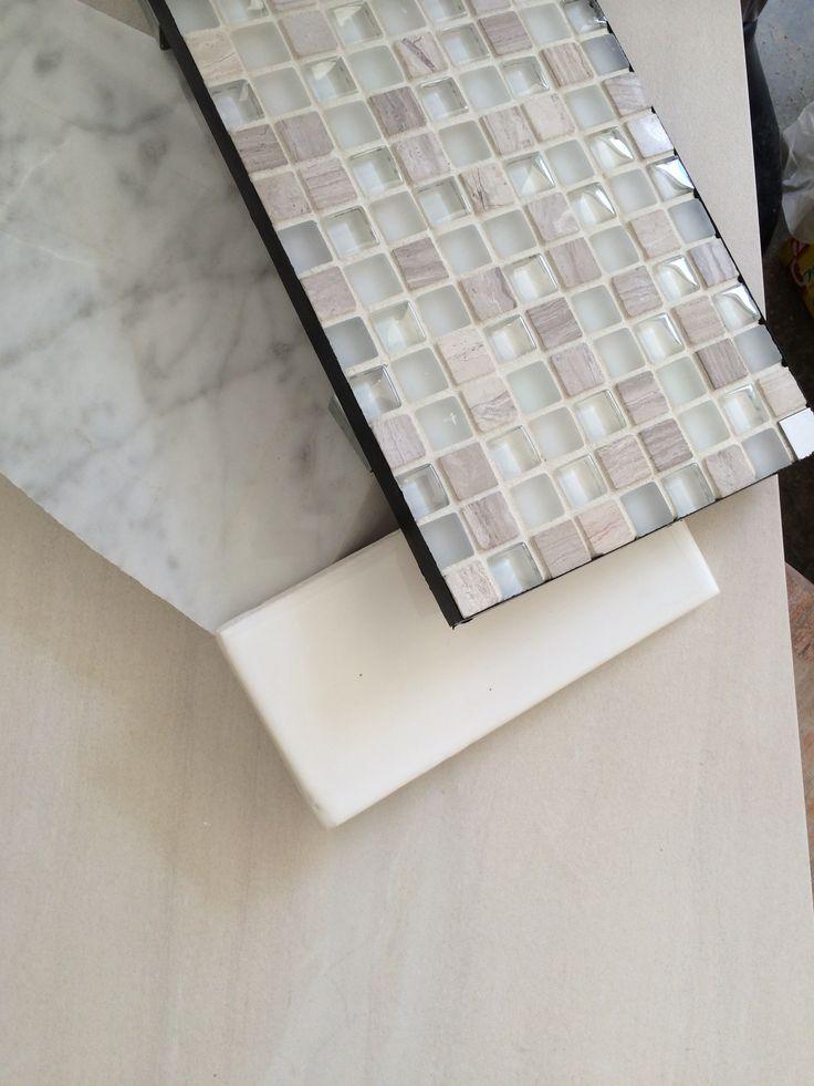My actual bathroom tiles carrera marble for vanity top for Mosaic tile vanity top