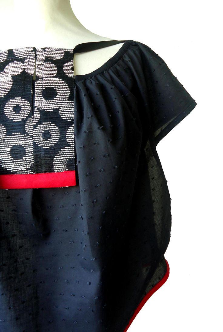 Tunique blouse Takéo noir, écru & rouge YEIHO - Mode ethnique