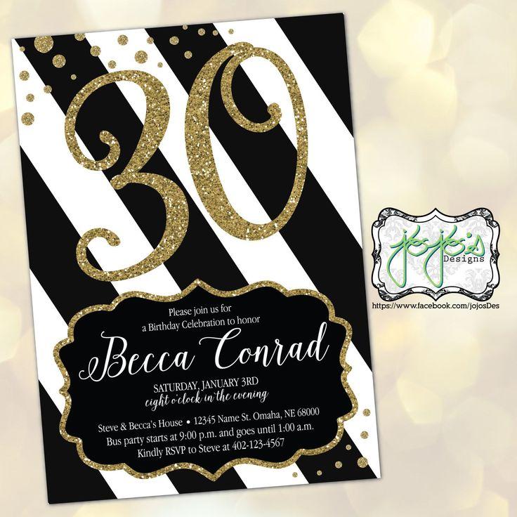 party invitations after wedding%0A Black  u     Gold Glitter Birthday Invitation by jojosdesigns