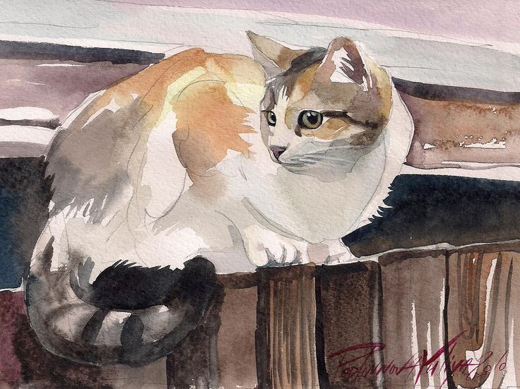 Calico Cat Painting by Yuliya Podlinnova - Calico Cat Fine Art Prints and Posters for Sale