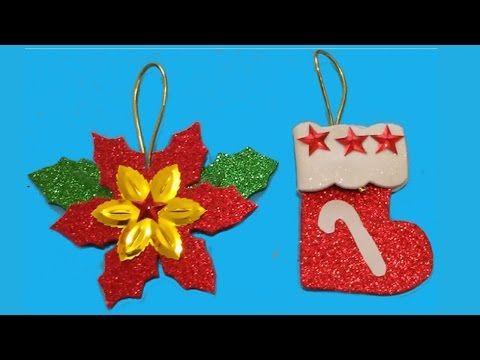 Flor de nochebuena y bota navide a manualidades de lina - Youtube manualidades de papel ...