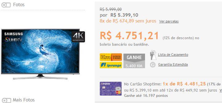 """Smart TV Nano Cristal 55"""" Samsung 55JS7200 4K com Conversor Digital 4 HDMI 3 USB Wi-Fi Quad Core << R$ 427608 >>"""