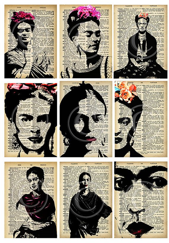 Frida Kahlo nine ATC images... A4 digital download collage sheet...plus gift