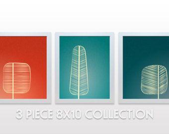 Metà secolo alberi stampa Poster minimal opere di noodlehug