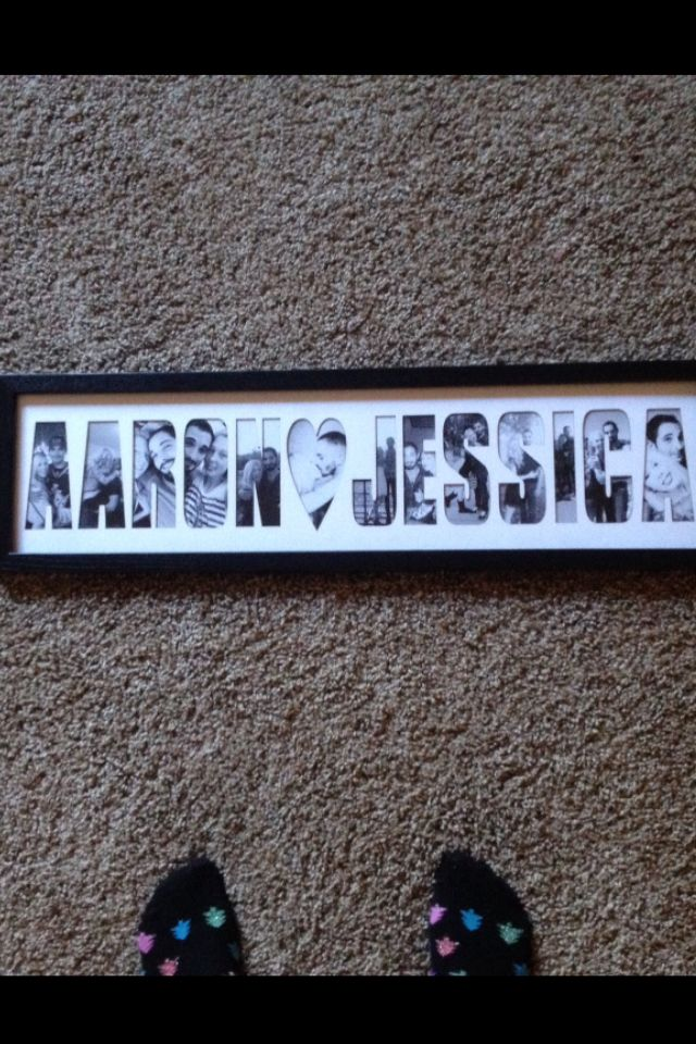 Christmas present idea for boyfriend. Spells out our names with photos in it :)