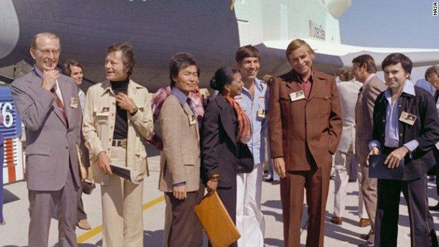"""Star Trek"" cast members attend the rollout of the space shuttle Enterprise in Palmdale, California, on September 17, 1976."