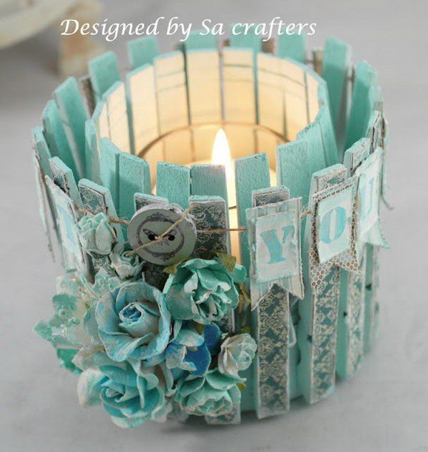 Altered tin can with clothes pins. Tin cans are not just for stacking up in your cabinet, tossing in the trash or sending to the recycle bin. Combine those with a rope, paints, craft papers and a generous helping of crazy imagination, and you will have a cool creation on your hands.