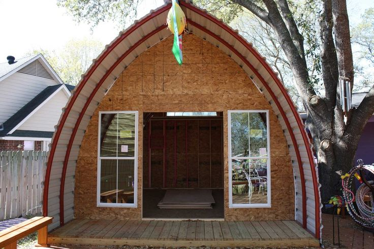 Arched Cabins - a kit that can be assembled in four hours (?). Cheap and small--but cute. Works with various types of foundations.