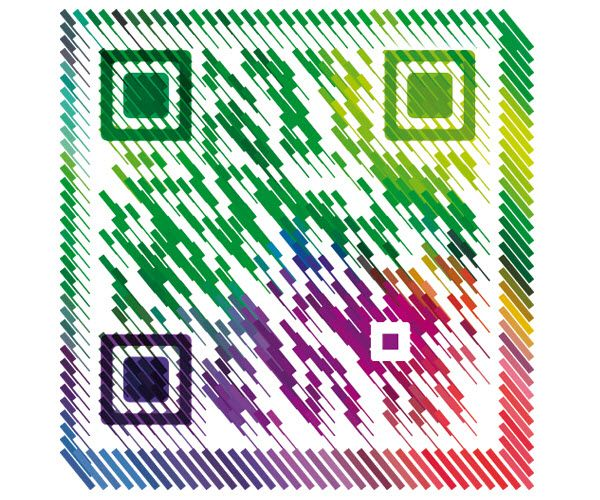 Very awesome! Rainbow design QR code