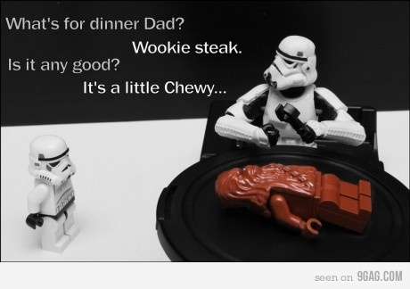 #funny #starwars: Funny Stars War, Nerd Jokes, Chewy, Funny Pictures, Wooki Steaks, Star Wars, Humor, Starwars, Funny Puns