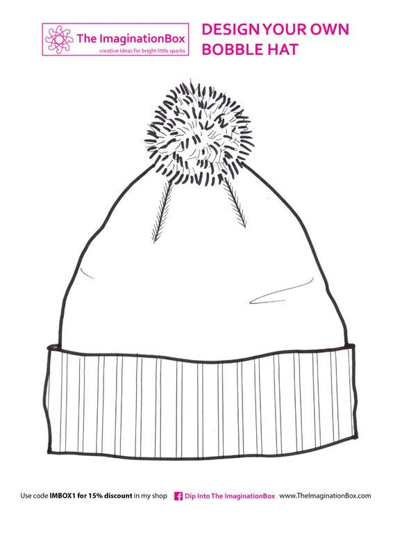 Fun Winter Bobble Hat Or Beanie Hat Free Printable Coloring For Kids Arts And Crafts For Kids January Crafts Winter Art Projects