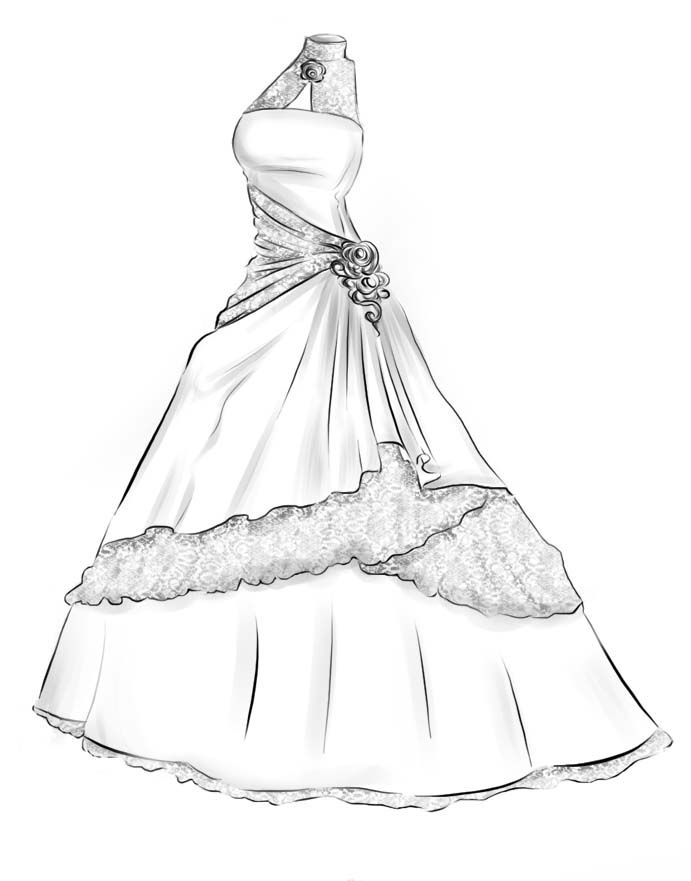 Ball gown drawing wedding dress google search art for Dresses to wear to a christmas wedding