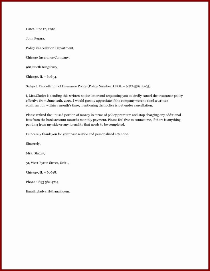 how to write dd cancellation letter
