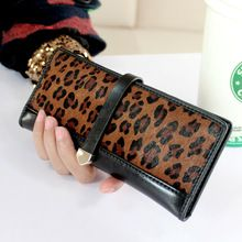 2 Fold 100% Genuine Leather With Animal Hair Designer Women Long Wallet Leopard Pattern Carteras Female Clutch Coin Purse Wallet(China (Mainland))