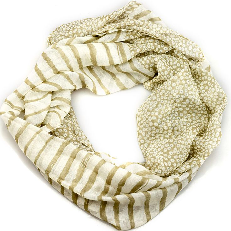 $11.99, Beige Stripe Dots Inifinity Scarf, women for her fashion accessoires teen gift idea holiday travel loop circle by URFashionista.com on Etsy