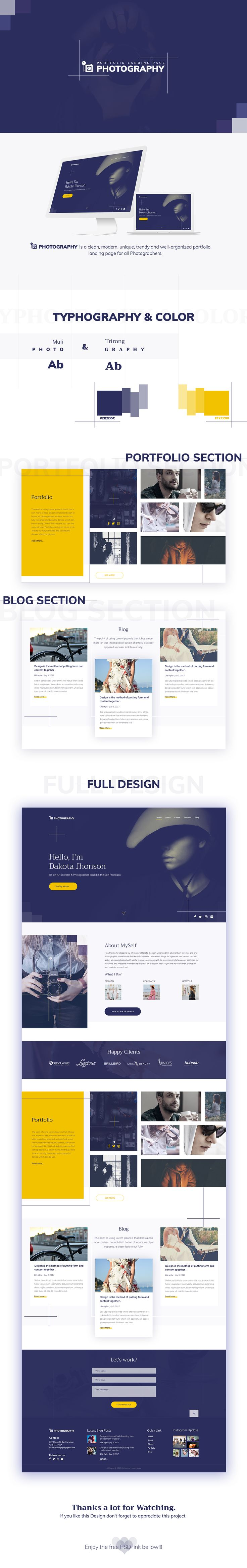 Photography Web Template Free PSD