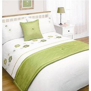 Lime Green White Fl Bed In A Bag Double Duvet Set Runner Cushion