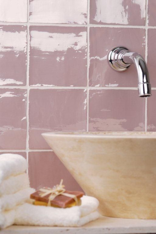 Blossom pink tiles (perfect for a splashback) from the Metropolitan range which feature a unique lustrous finish. Handmade ceramic tiles which are part of the Residence collection by The Winchester Tile Company. winchestertiles.com