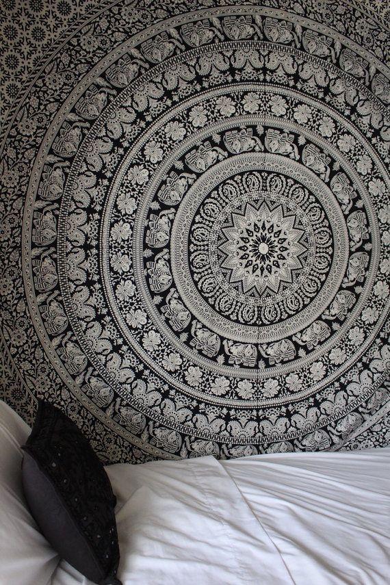 Black & White Gypsy Wildflower Mandala Tapestry by LadyScorpio101