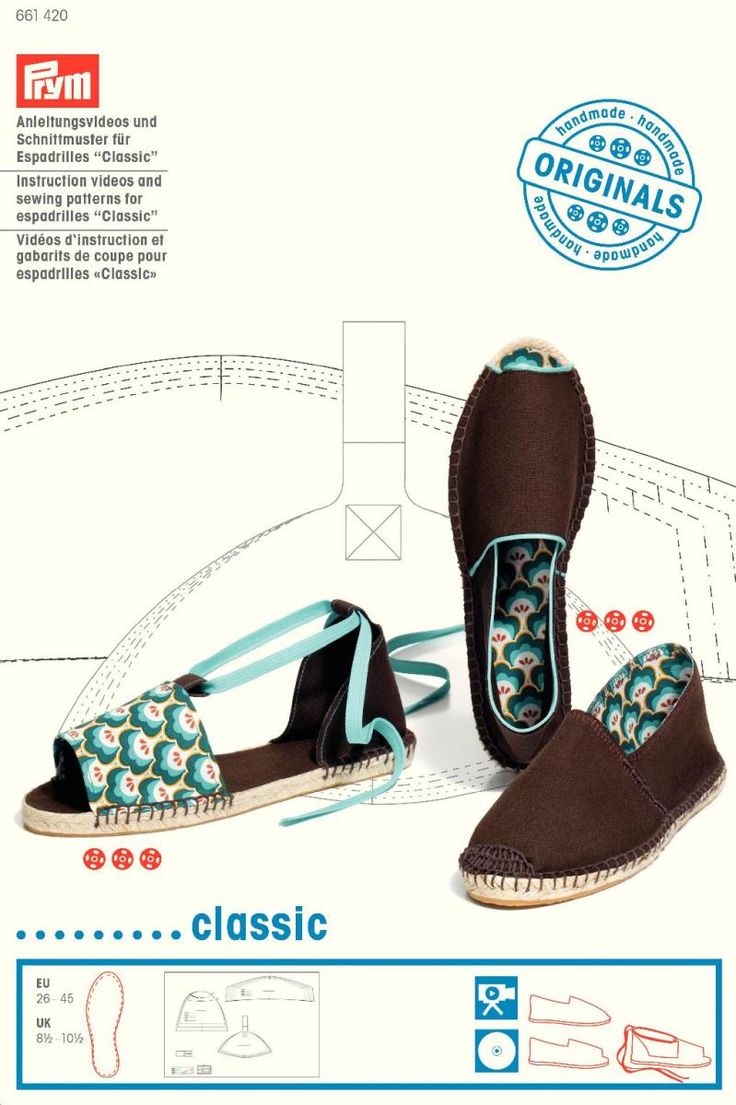 "Instruction videos and sewing patterns for espadrilles ""Classic"""