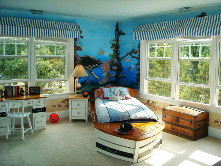 Small Bedroom Colors And Designs With Cool Underwater Paintings And Ship Mattress Design For Color Ideas For Small Bedrooms Popular Home Interior