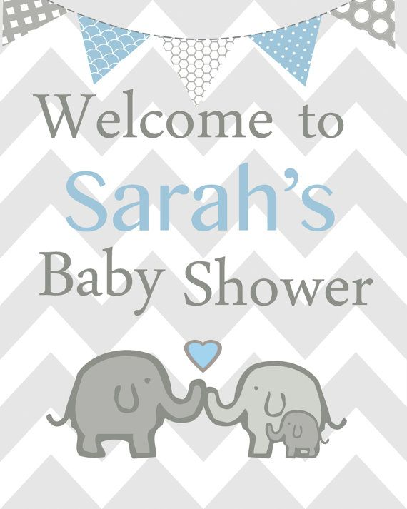 Elephant baby shower decorations Elephant baby by ChicWallArt