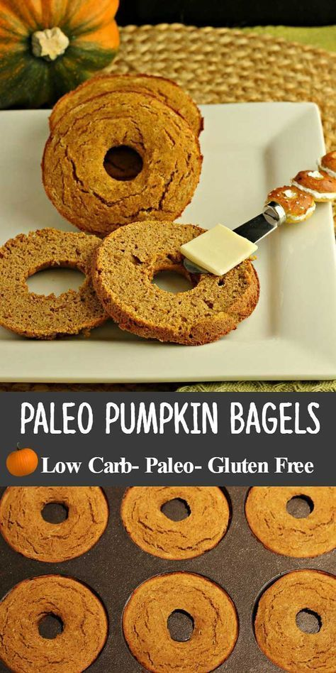 Pumpkin Spice Bagels are low carb, grain free, starch free, nut free, with dairy…
