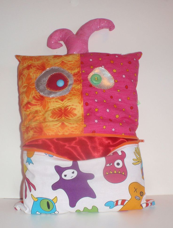 Beautiful Friendly Monster Pet Pillow, I'm a Toy, a Monster, a Pet, a Pillow and a Bag in one by ColourMeldDesigns on Etsy