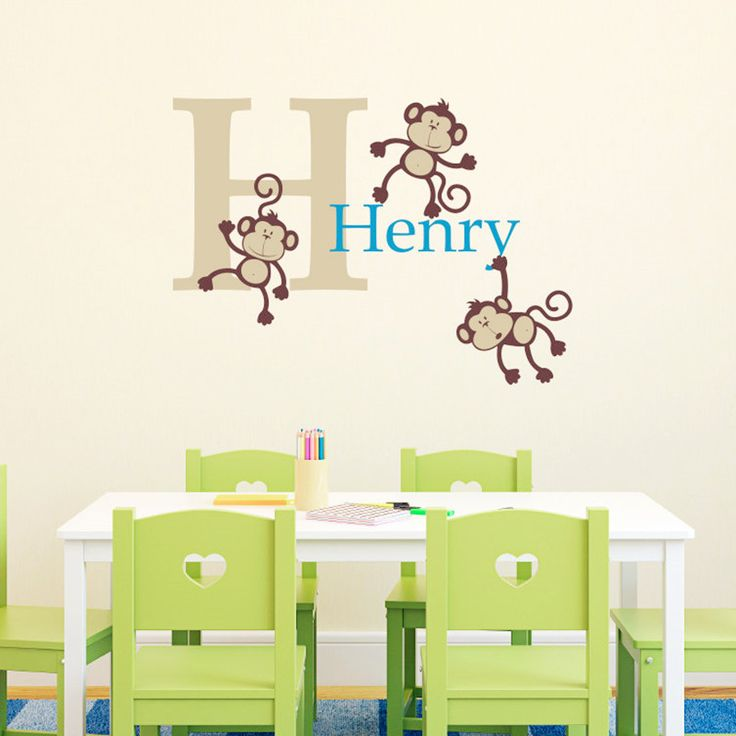2016 NEW - Three Naughty Monkeys Combination Wall Stickers Custom Kids Name Vinyl Decals Wall Sticker For Kids Rooms Home Decor
