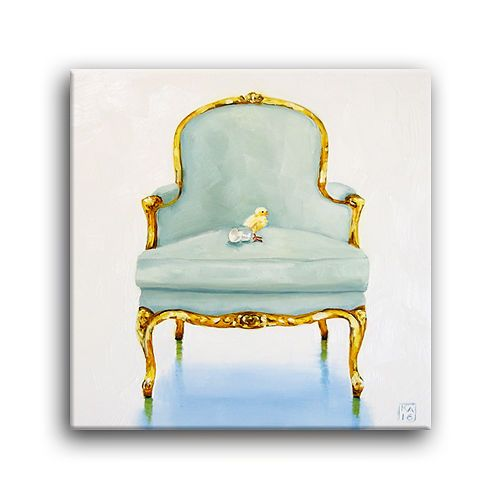 Cute Baby Chick, Egg Shells, Bergere Chair Daily Oil Painting Kimberly  Applegate
