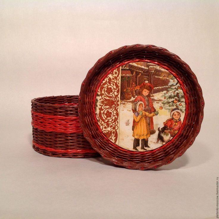 Купить Шкатулка из бумажной лозы - коричневый, красный, плетение из газет, плетенеи из бумажной лозы, шкатулка