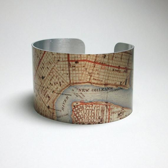 This metal cuff bracelet was created using a vintage 1930's New Orleans Louisiana map. #style #lifestyle #streetstyle #fashionstyle #styleblogger #fashion #fashionista #instafashion #fashionblogger  #summerfashion #summeraccessories #accessories #summerstyle #boho #ootd #fashiondaily #handmade #handmadejewelry #jewelry #nola #neworleans