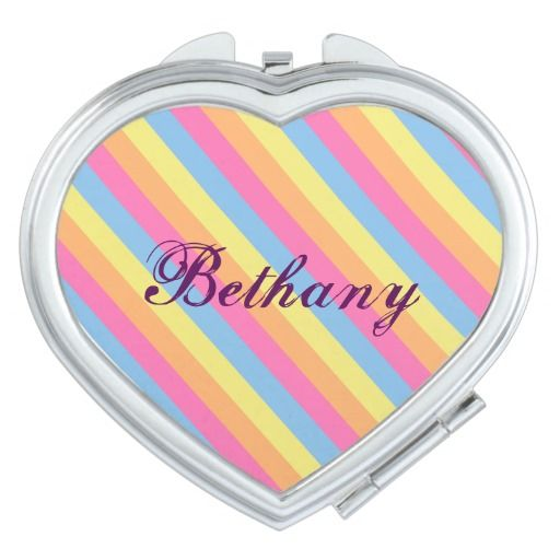 Customize this compact mirror with your name, no words, or whatever you want. Pink, blue, yellow, and orange diagonal stripes inspired by the colors of a lollipop candy.