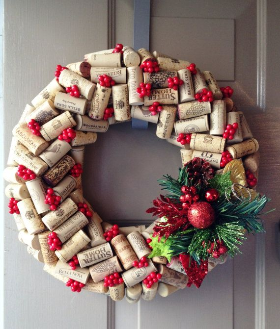 Christmas Wine Cork Wreath on Etsy, $32.00