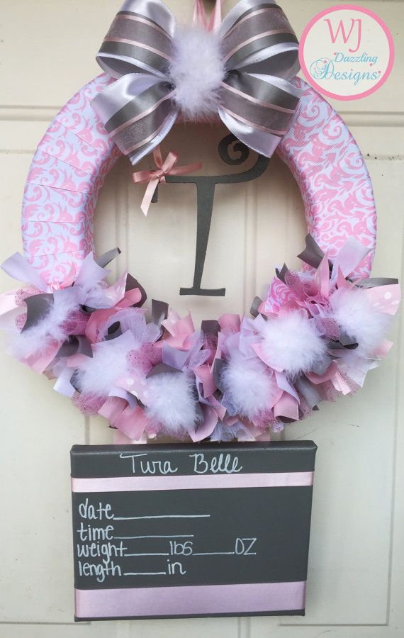 1000 images about baby hospital door wreaths on pinterest for Baby girl hospital door decoration