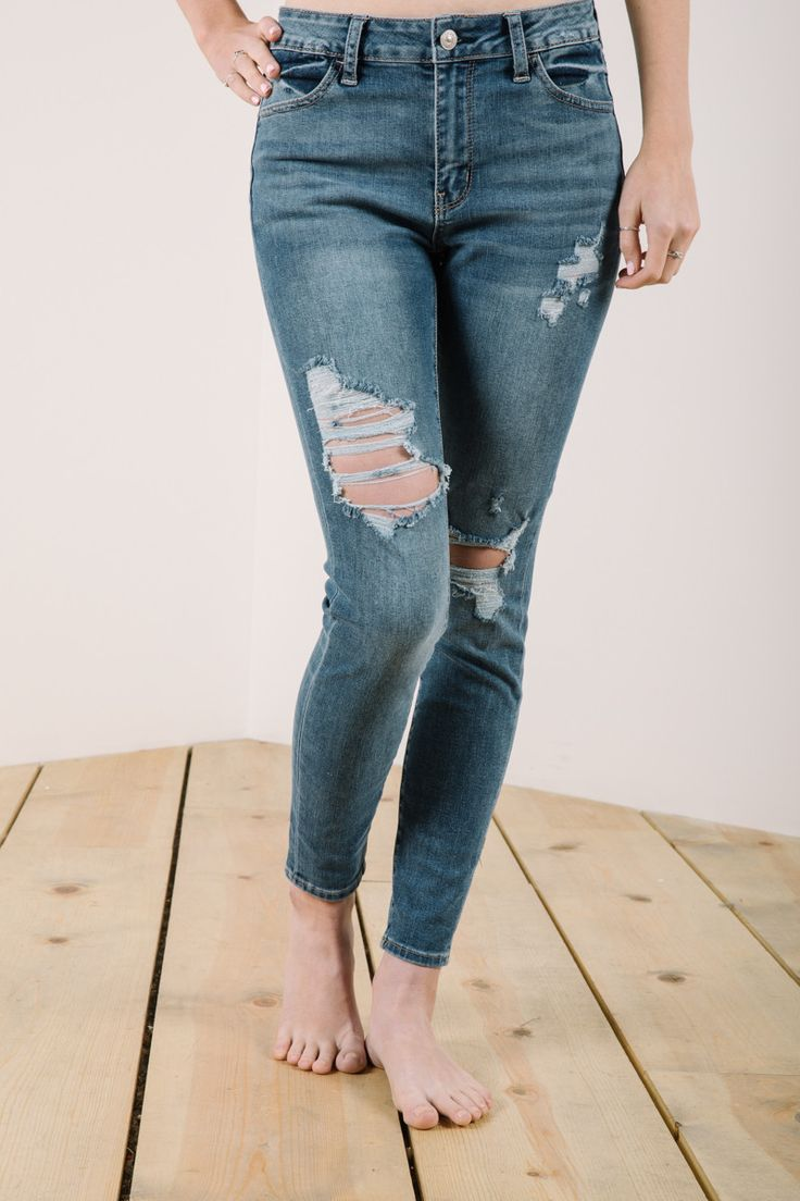 The Destroyed Ankle Skinny in Medium Denim