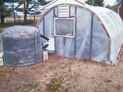 She Uses Compost To Heat Her Greenhouse - the compost pile is used to heat some water inside the pile and run through growing tables in the greenhouse and recirculated. After a big spike of 140 degrees it settles to 115. Nice!