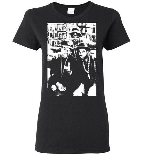 RUN DMC, Classic Hip Hop,New York,Old School Rap,Def Jam,v2, Gildan Ladies T-Shirt