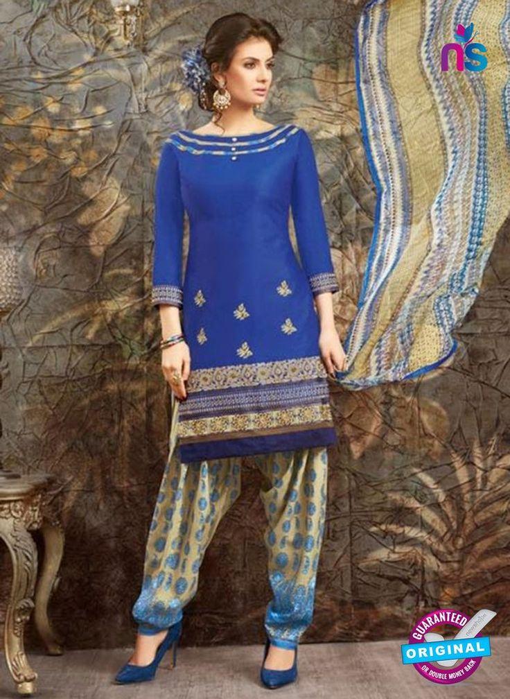 SC 13844 Blue Glace Cotton Designer Fancy Exclusive Patiala Suit Online Shopping.