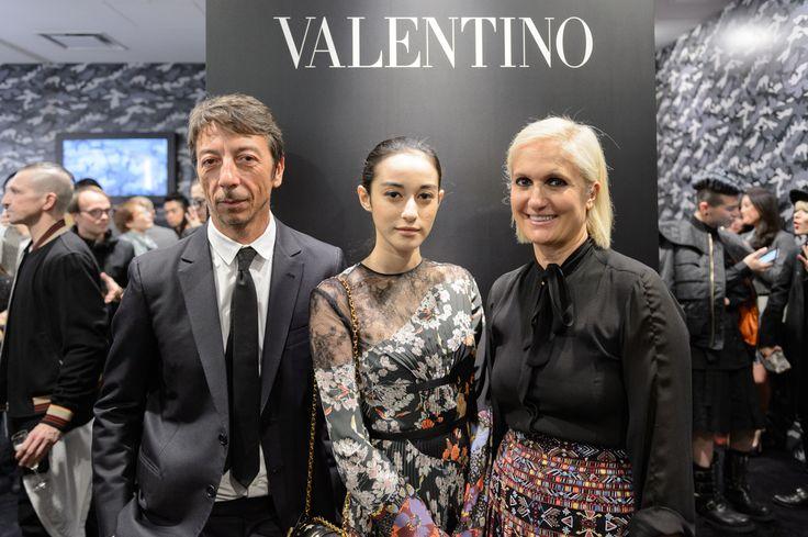 Creative Directors Maria Grazia Chiuri and Pierpaolo Piccioli with model Saila at the Dover Street Market in Ginza for a special Camucouture installation.