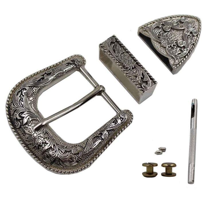 """1-1/2"""" 38mm Western Cowboy  Belt Buckles Antique Silver Engraved Belt Buckle Set #TOME #menBELT Ebay"""